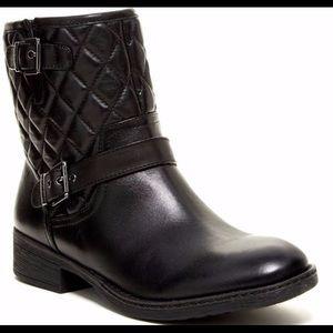 Arturo Chiang Women's Blk Leather Moto Short Boots
